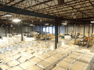 Wood pulp, paper rolls and industrial items are stored in Laser Transit's warehousing facilities in Lacona. The company owns its own fleet of trucks, and provides trucking, warehousing and third-party logistics services in the United States and Canada.