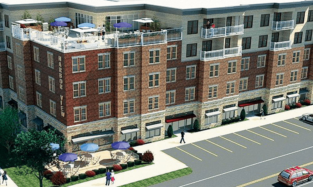 Harborview Square will be a 66-unit apartment complex with 10,000 square feet of retail and commercial space at 68 W. First St.