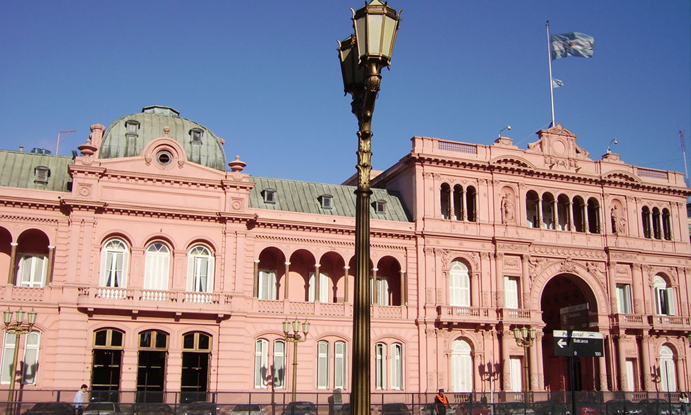 Casa Rosada, the iconic, balconied presidential palace in the center of Buenos Aires.