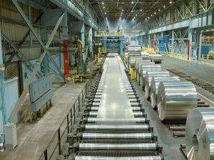 Rolling aluminum on the hot mill at Oswego, NY.
