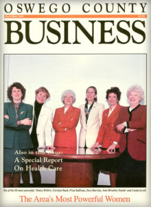 """Cover of the April-May 1994 featuring """"powerful women."""" From left: Nancy Bellow, Carolyn Rush, Fran Sullivan, Sara Barclay, Ann Mirabito-Snyder and Linda Syrell. They were part of 60 profiles we developed at in that issue."""