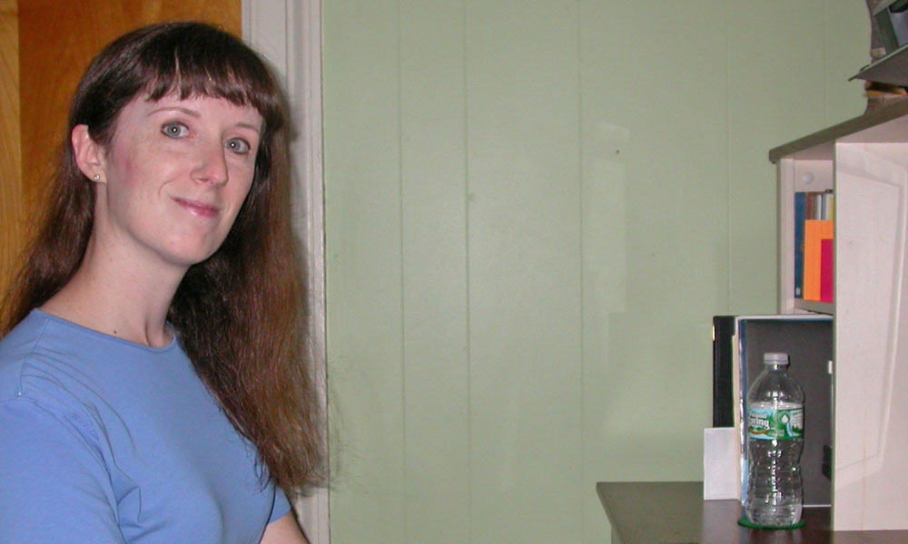 Writer Deborah Sergeant at her workstation at home.