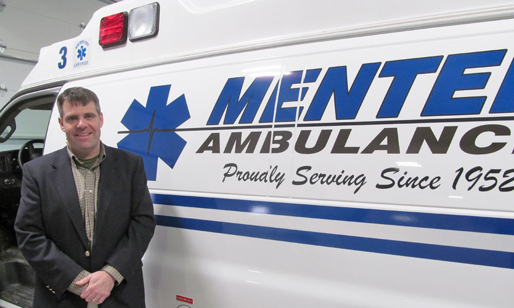 Zach Menter is president and CEO of Menter Ambulance in Fulton, Oswego County's largest ambulance service company. The business employs 160 workers. It was started in Fulton by his grandfather, Alfred Menter, in 1952.