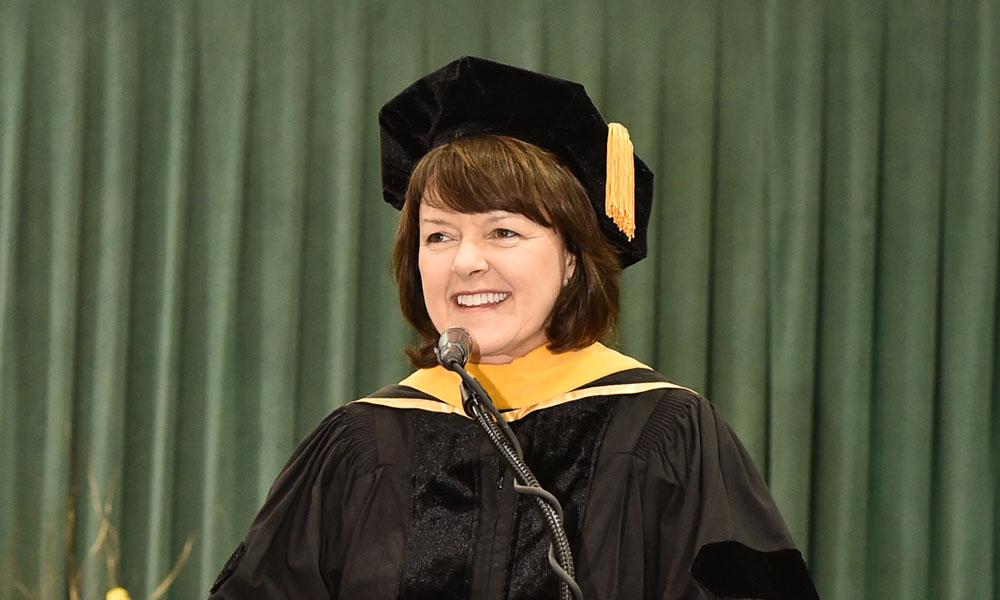 Marnie LaVigne, president and CEO of Launch NY, spoke recently at SUNY Oswego's December commencement.