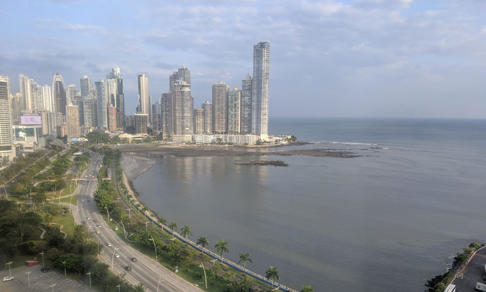 Skyscrapers dot the coastal area of Panama City.