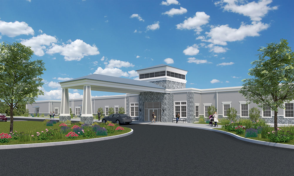 Rendering of a new $17 million behavioral health center Oswego Health is building at the former Price Chopper location in Oswego.