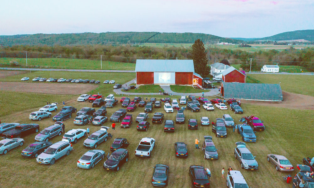 Arlington Acres, a 100-acre farm in the town of Fabius, has been converted into a drive-in theater. Owner Katie Hatch Jerome says tickets forthe movies usually sell out within 30 minutes. Photo courtesy of Lisa Rossi.