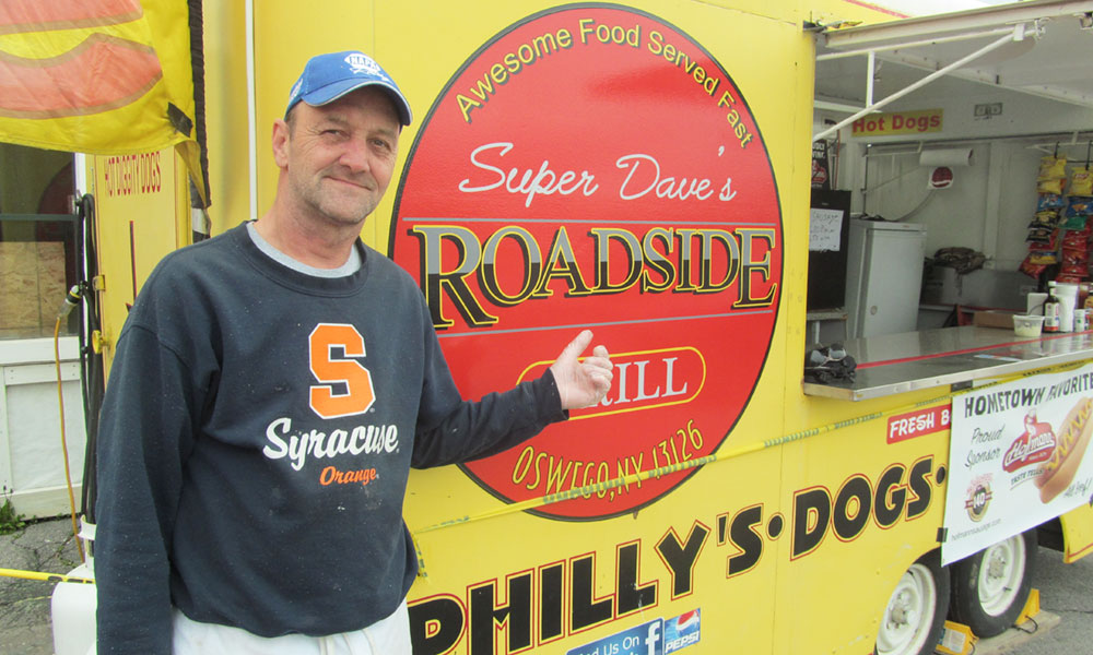 Gary Miller Sr. is the owner and operator of Super Dave's Roadside Grill, a food truck set up at the forks of the road in Oswego.