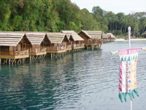 Cabins on the water available to guests at Pearl Farm Beach Resort, near Davao.
