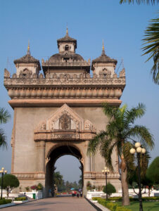 In 1954 Laos achieved independence from France but the French influence is still seen everywhere. An example is the Victory Gate modeled after the Arc de Triomphe in Paris.