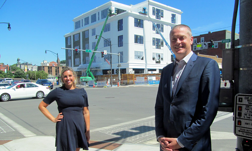 Katie Toomey, executive director of the Greater Oswego-Fulton Chamber of Commerce, recently joined Robert Simpson, president of Syracuse-based CenterState CEO, in touring downtown Oswego and checking out several construction projects.