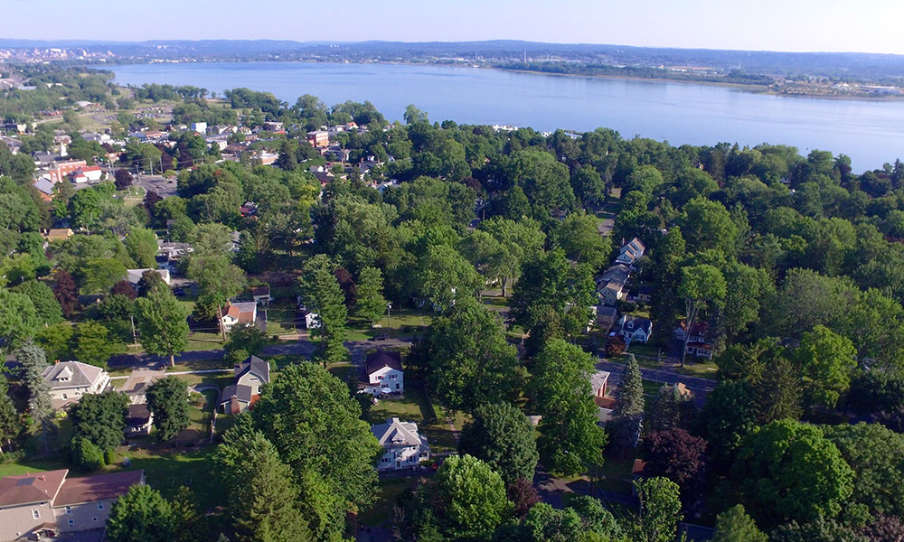 Overview of the village of Liverpool with Onondaga Lake in the background. Photo by Kenneth Sturtz.