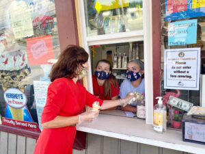 Lt. Governor Kathy Hochul visiting an ice cream stand in Chittenango and thanking the workers for their mask-wearing efforts. In July, a woman lashed out at teenagers working at the Madison County stand when she was denied service after refusing to wear a mask. The incident drew statewide attention.