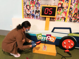 Sophia Cardinale, a play facilitator at the Children's Museum of Oswego, spends a lot of her time now cleaning the exhibits, materials and toys to ensure a healthy experience for visiting families.