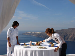 Dining on the island of Santorini, considered one of the most interesting and beautiful islands in Greece.