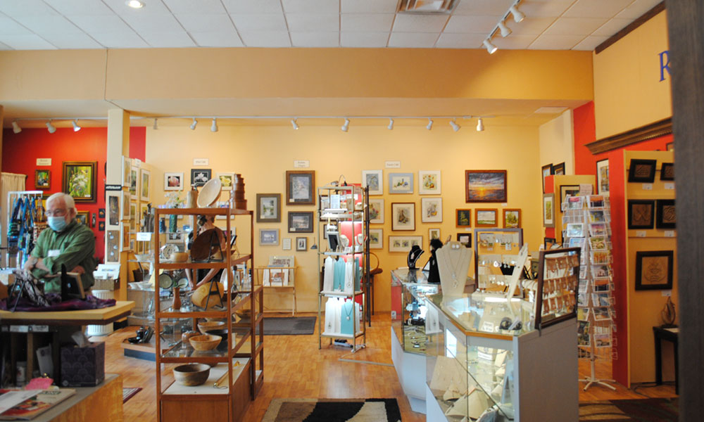 Riverside Artisans a gallery-like space in downtown Oswego where local artists display and sell their work.