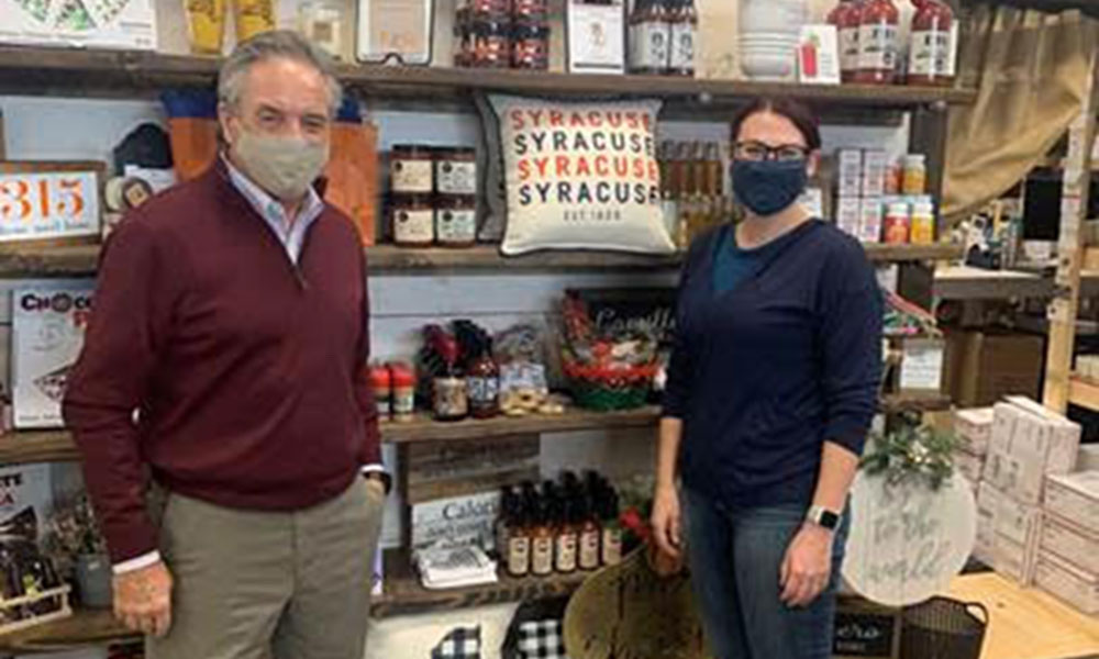 The SBA Upstate New York District Office visited Witty Wicks Candles & Gift Shop in Syracuse. (From L to R) SBA Upstate New York District Director Bernard J. Paprocki and Founder & Owner of Witty Wicks Aubry Panek.