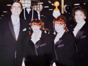 The stores manager Jeff Bame (from left), Kay McCollum, Jan Edwards, and Barb Arras at one of the store VIP nights.