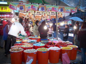 Food market at night held in most cities. That's the best and most interesting place to sample the variety of food in Taiwan.