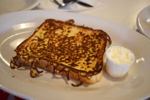 The French toast ($3.59 or $1.20 for one) is unapologetically basic.