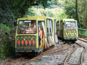 Scenic train, a converted Japanese mining train, takes visitors through Wulai, an aboriginal village near Taipei.