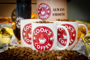 Promotional material featuring Cook's Coffee.