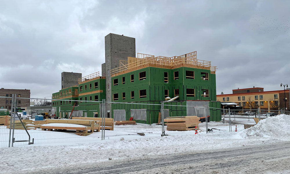 Construction of the Midtown Plaza on the east side of Oswego: 75,000 square-foot mixed-use building being built by Rochester-based Home Leasing, LLC.