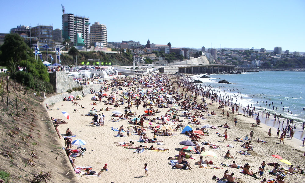 Beach at Vina del Mar, a resort city about 90 minutes from Santiago, is a popular destination.