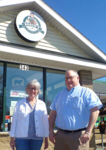 Theresa Himes, president of Bosco's on the east side of Oswego, recently sold her family-owned grocery store to Mike Ward of the Rochester area. Ward owns a store in Chili, near Rochester.