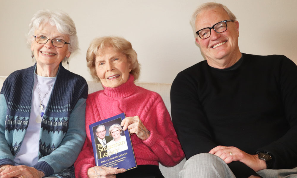 "Jeff Rea, author of ""The Shineman Legacy: The Founder Speaks,"" Barbara Shineman, co-founder of the Richard S. Shineman Foundation (center), and Kathy Fenlon, the foundation's chairwoman."