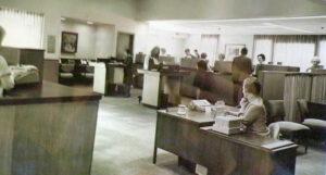 Main lobby of Fulton Savings Bank. circa 1980.