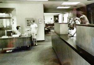 Office at Fulton Savings Bank. Undated photo.