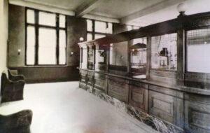 Teller station at Fulton Savings Bank.  Undated photo.