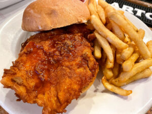 The hot honey crispy chicken sandwich. The southern-style and lightly fried chicken was super flavorful and tender.