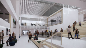 The first floor of the Hewitt Union will have a high open area with classrooms, faculty offices, a skylight and a prominent television studio suite that includes a newsroom and control room to showcase the college's historic strength in broadcasting.